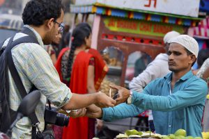 merchant selling to customer