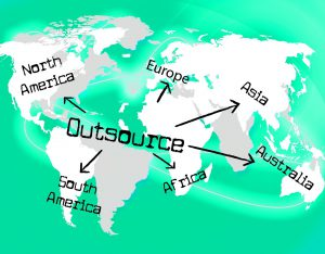 image showing map of world with the word outsource pointing to different continents