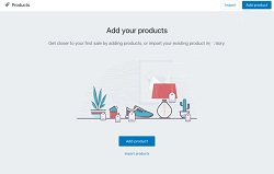 shopify admin area for adding products