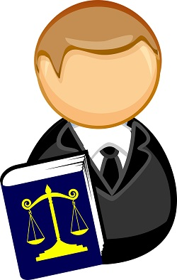 character holding a book with justice scales