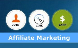 affiliate marketing banner with 3 circles with images and the join link earn