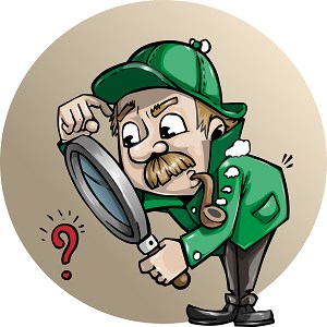 Man looking at a question mark through a large magnifying glass