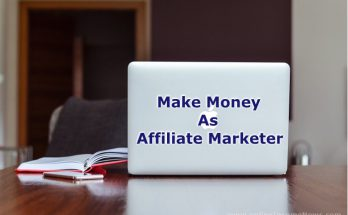 Laptop computer on a desk showing the back of the computer screen with the words Make Money as Affiliate Marketer