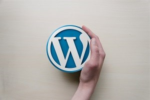 WordPress Logo with a hand wrapped around it