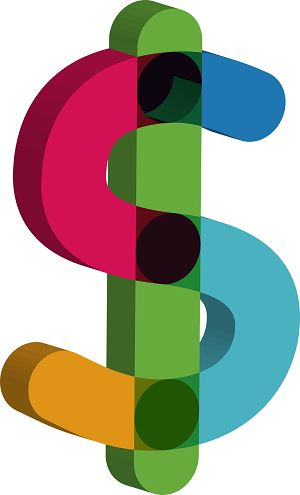 Colourful dollar sign