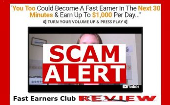 screenshot of fast earners club website with scam alert across the video screen