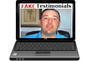 Laptop with a man giving a fake testimonial