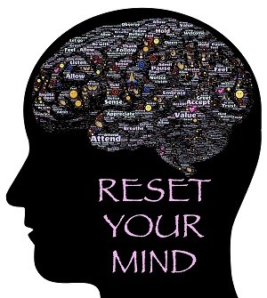 Reset your mind words on an image of brain with various positive words in the brain
