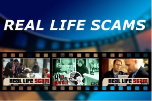 banner with film strip and the words real life scams