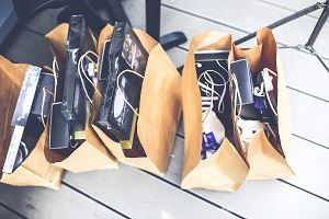 Shopping bags full of products