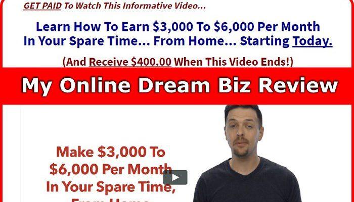 Screenshot of my online dream biz website