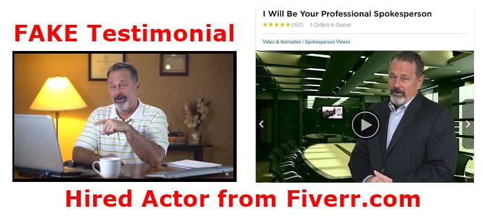 Fake testimonial photo from site and fiverr