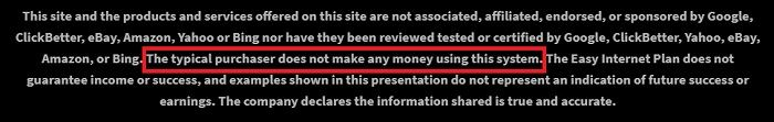 Disclaimer from one click pay day site