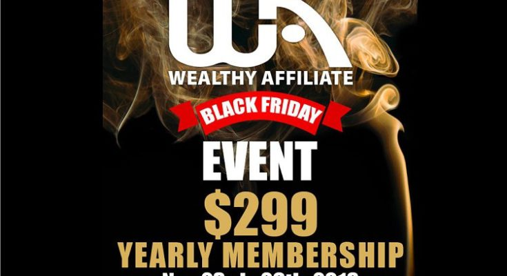 Wealthy Affiliate Black Friday Deal 2018 Banner