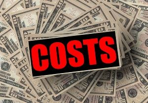 Dollar bills with the word costs