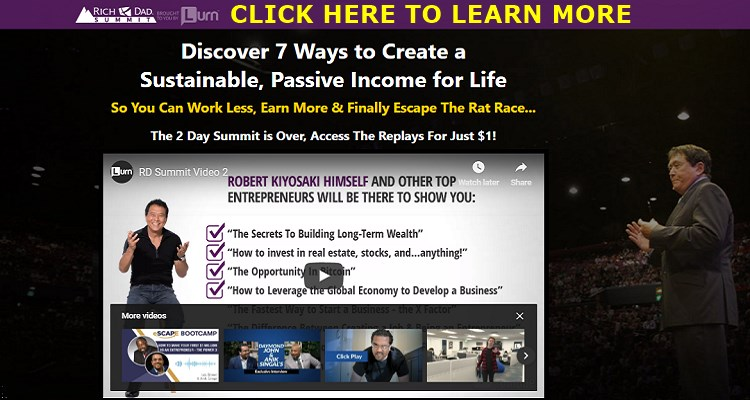 Screenshot of Rich Dad Summit Webpage