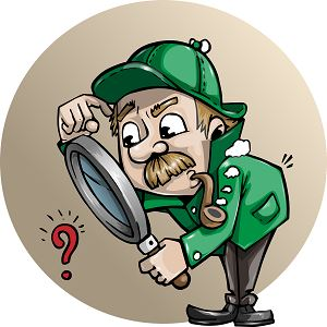 Detective lookig through a large magnifying glass at a question mark