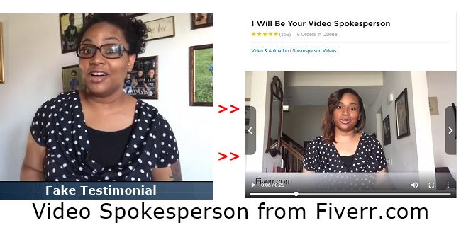 Fake testimonial from fast profit site and same spokesperson from fiverr.com