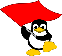 Penguin holding up a red flag