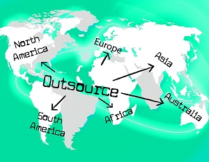 Mapy of the world showing outsourcing options